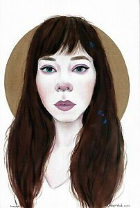 original drawing 20,5 x 30,5 cm 48YkV art Mixed Media modern female portrait