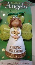 Irlande irlandais anges vert paillettes celtique irlande suspendus décoration avec bell
