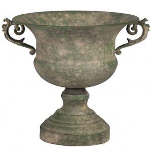 Übertopf Blumentopf auf Fuß Antik Pokal Garten Deko Gefäß Metall Grün 28 cm