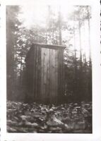 Vintage  Photo  Outhouse in the woods , Quebec Canada.  circa  mid century