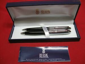 BILL BLASS BLACK AND CHROME PEN & PENCIL SET - ORIGINAL BOX  AND BOOKLET.