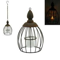 Hanging Metal Cage Rustic Indoor Outdoor Tea Light Holder Lantern Candle Holder