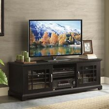 TV Stand Console Storage Media Cabinet Entertainment Center Black Wood Furniture