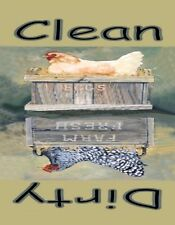 METAL DISHWASHER MAGNET Roosting Hens Chicken Bird Clean Dirty Dishes MAGNET