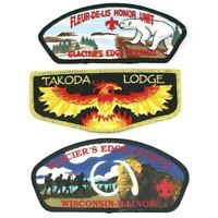 Lot of Three Glacier's Edge Council Patches Including 1 Takoda Lodge OA Flap