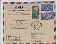 1951 MONTECASSINO + 10 LIRE LAVORO DA ROMA A TUNISI LINEE AEREE ITALIANE RARA