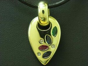 14kt 585 Yellow Gold Pendant With Diamond, Sapphire, Emerald & Ruby Trim / 4,6g