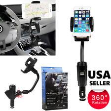Dual USB Car Charger Cigarette Lighter Mount Holder For Mobiles Phone Samsung