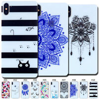 Pattern TPU Rubber Skin Back Cute Soft Clear Case Cover For Apple iPhone XS Max