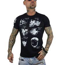 """Noir Yakusa-T-Shirt Hommes TSB 13049 /""""quod sumus hoc eritis/"""" Black devoré"""