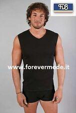 Camiseta de hombre FDB sin mangas con cuello de pico en jersey algodón ajustado