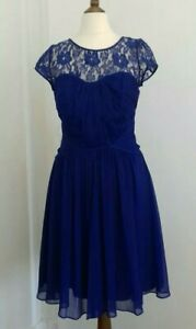COAST LACE TOPPED EVENING DRESS SIZE 8 BLUE, IDEAL PARTY/BRIDESMAID, CRUISE. VGC