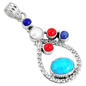 Multi-Gem Elegant Silver Pendant Divine Turquoise and Lapis Lazuli Handmade Sterling Silver Pendant