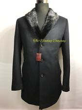 Stefano Ricci Coat 100% Cashmere Solid Black Removable Inner Lair Mink 54