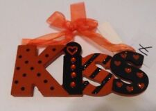 RED & BLACK JEWELED KISS WOOD VALENTINES DAY SIGN GIFT DECORATION