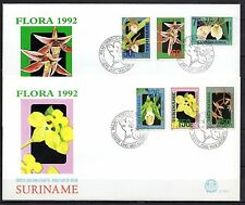 Suriname - 1992 Flowers / Orchids -  Mi. 1394-99 clean FDC's