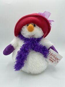 "Ganz Heritage Collection Snowbell Snowman Snow Woman  Plush HX6041 Red Hat 10"""