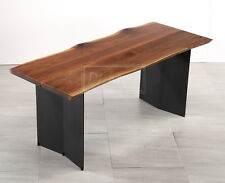 "70"" Hand Crafted Natural Design Dining Table Walnut Grain Wood Metal Stand"