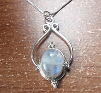 Moonstone Nicely Accented 925 Sterling Silver Necklace a9j