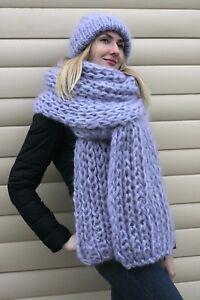 2 items Premium Mohair SCARF & HAT hand knit Gray Jane Rodas