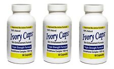 3 IVORY CAPS Glutathione Skin Whitening Max BioActive 1500MG 180 Caps Exp06/2020