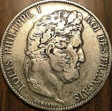 1845 W FRANCE LOUIS PHILIPPE I ROI DES FRANÇAIS SILVER 5 FRANCS ARGENT