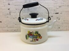 Berggren Vintage ENAMEL Tea Kettle MID CENTURY Sweden Modern Finel ERA Fruit