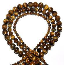 "GR127 3-Strands Golden Tiger's Eye 4mm 6mm 8mm Round Gemstone Beads 15"""