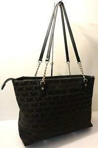 Michael Kors MK Logo Black Leather Trim Tote Shopper Office Shoulder Purse Bag