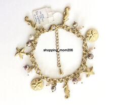 "Lia Sophia ""Under The Sea"" Matte Gold Charm Bracelet w/Genuine Freshwater Pearls"