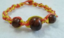 Wood Beads Hemp Bracelet Yellow Orange  Friendship Handmade Surfer Boho
