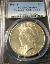 1924 S PEACE DOLLAR  PCGS. UNCIRCULATED DETAILS CLEANING. . Nice coin OFFERS