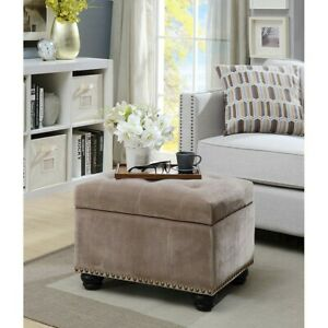 Convenience Concepts Designs4Comfort 5th Ave Storage Ottoman, TAUPE - 163010FVT