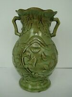 Vintage Majolica green pottery vase with handles 9.5 inches tall