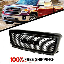 GMC Sierra 1500 Denali Style Front Grill Gloss Black Upper Grille 2014 and 2015