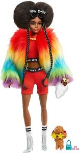 Barbie - Extra Doll in Rainbow Coat with Pet Dog Toy
