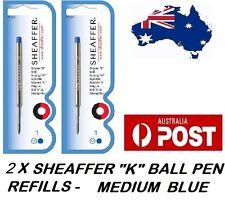 """2 X SHEAFFER K BALLPEN """"K"""" BALL POINT PEN REFILL REFILLS MEDIUM BLUE BRAND NEW"""