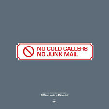 SKU042 No Junk Mail - No Cold Callers - Front Door Letter Box Sign / Sticker