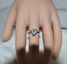 GLAMOROUS 2.26ct. NATURAL SKY BLUE TOPAZ  &  GENUINE DIAMOND  COCKTAIL RING  7