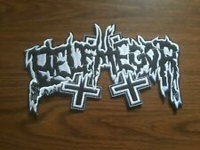 BELPHEGOR,SEW ON WHITE EMBROIDERED LARGE BACK PATCH
