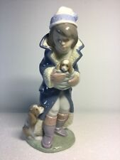 Lladro Figurine 6019 Friday's Child, Mint, Retired, Boy, Winter, Dog, Puppy