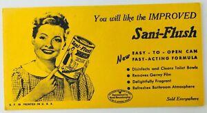 Vintage Sani-Flush Advertising Blotter Yellow New Easy to Open Good Housekeeping