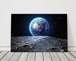 Earth and moon space canvas print framed picture wall art various sizes gift