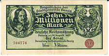DANZIG BANKNOTE 10 Mio P25B 1923 GEF
