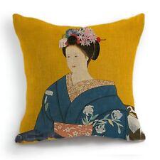 Retro Style Japanese Woman Blue Kimono Geisha Pillow Case Cushion Cover 18''