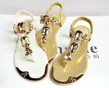 Ladies Bohe Rhinestone Flat Thongs Bohemia Gladiator Bling Flip Flop Sandals Sz