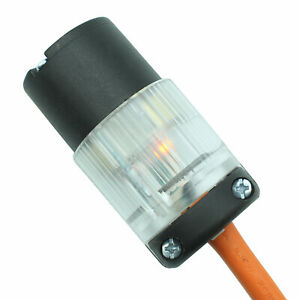 Lighted Female 515-CV-LIT Cord Repair Connector 15 Amp 515R Straight Blade 125V