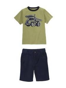 Gymboree Baseball Champ Truck Tee Shirt & Basic Navy Shorts Set Boys 12 NEW NWT