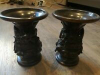 PAIR JAPANESE BRONZE VASES MEIJI PERIOD DECORATED WITH DRAGONS & TURTLES SIGNED
