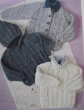 """KNITTING PATTERN - ARAN CABLE KNIT BABY / CHILDRENS JUMPERS 3 STYLES 20"""" - 30"""""""